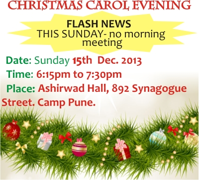 FLASH NEWS  – THIS SUNDAY – Word of Grace Church, Pune
