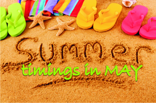Summer Timings for May 2019