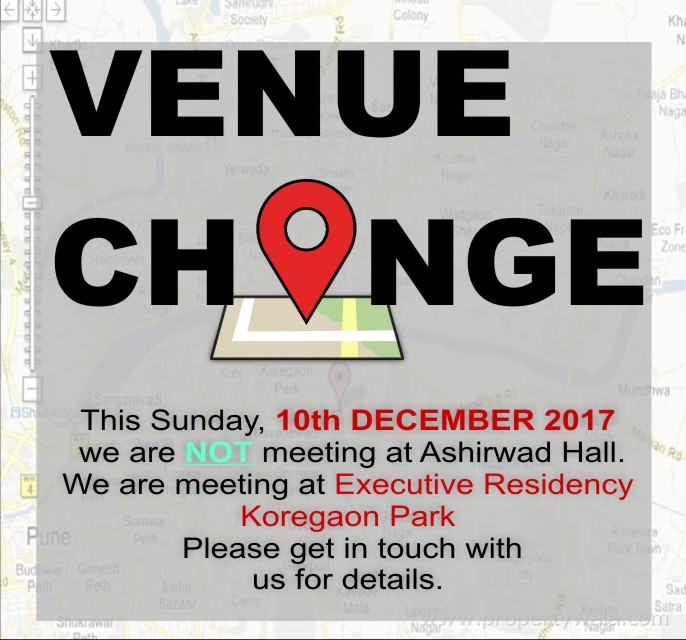 CHANGE IN VENUE 10 DEC 2017 – Word of Grace Church, Pune