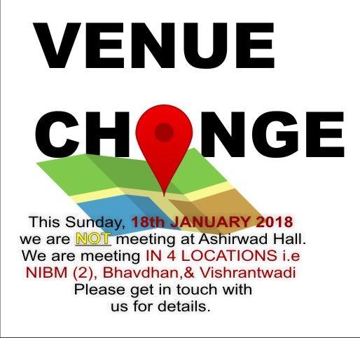 VENUE CHANGE | 18 Jan 2018 – Word of Grace Church, Pune